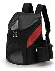 HOUHOU Pet Rugzak, Portable Dog rugzak ademende Cat Backpack Large Top Opening Foldable huisdier rugzak reistas for honden, katten en Puppies Kleine Dieren Grijs L hond rugzak (Color : Black+Red)