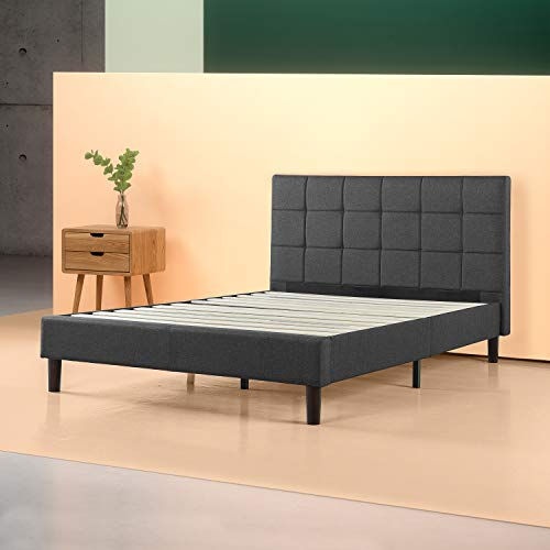 Zinus Upholstered Square Stitched Platform Bed/Mattress Foundation/Easy Assembly/Strong Wood Slat Support, Grey, Double