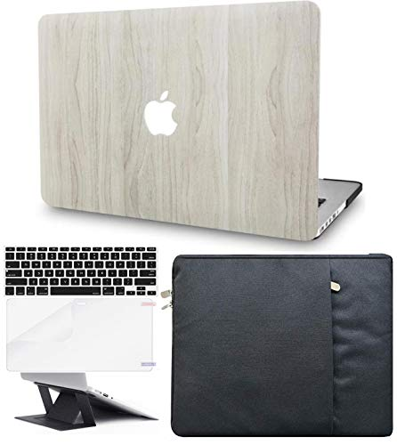 KECC Laptop Case Compatible with MacBook Pro 13' (2021/2020,Touch Bar) w/Keyboard Cover + Sleeve + Screen Protector + Laptop Stand Hard Shell A2338 M1 A2289 A2251 (Pine Wood 2)
