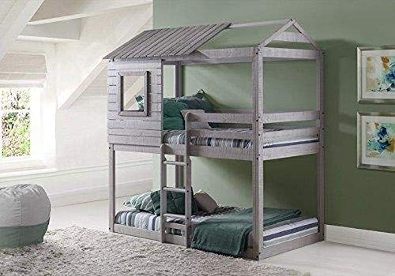 Donco Kids 1370 TTLG Deer Blind Bunk Loft Bed Twin Twin Light Grey