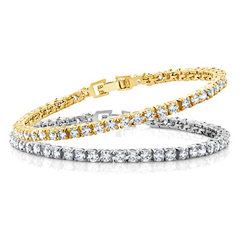 Gem Stone King 2 Piece Cubic Zirconia CZ Rhodium Plated and 14K Gold Plated Set of 2 Tennis Bracelets for Women 10.00 Ct Each, 7 Inch Length
