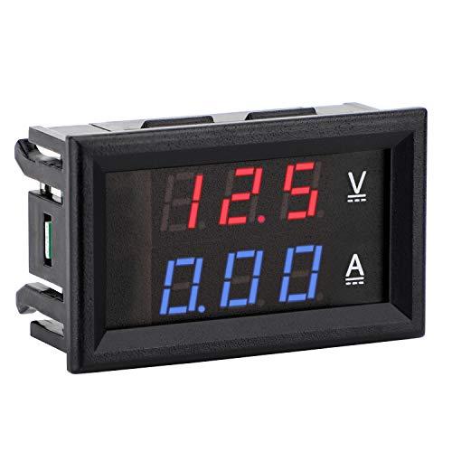 meter voltmeters DROK - 100173 DC Voltmeter Ammeter, DC4.5-30V Voltage Current Meter 2 in 1 Digital Multimeter 10A Volt Amp Tester Meter with 3 Wires 0.28