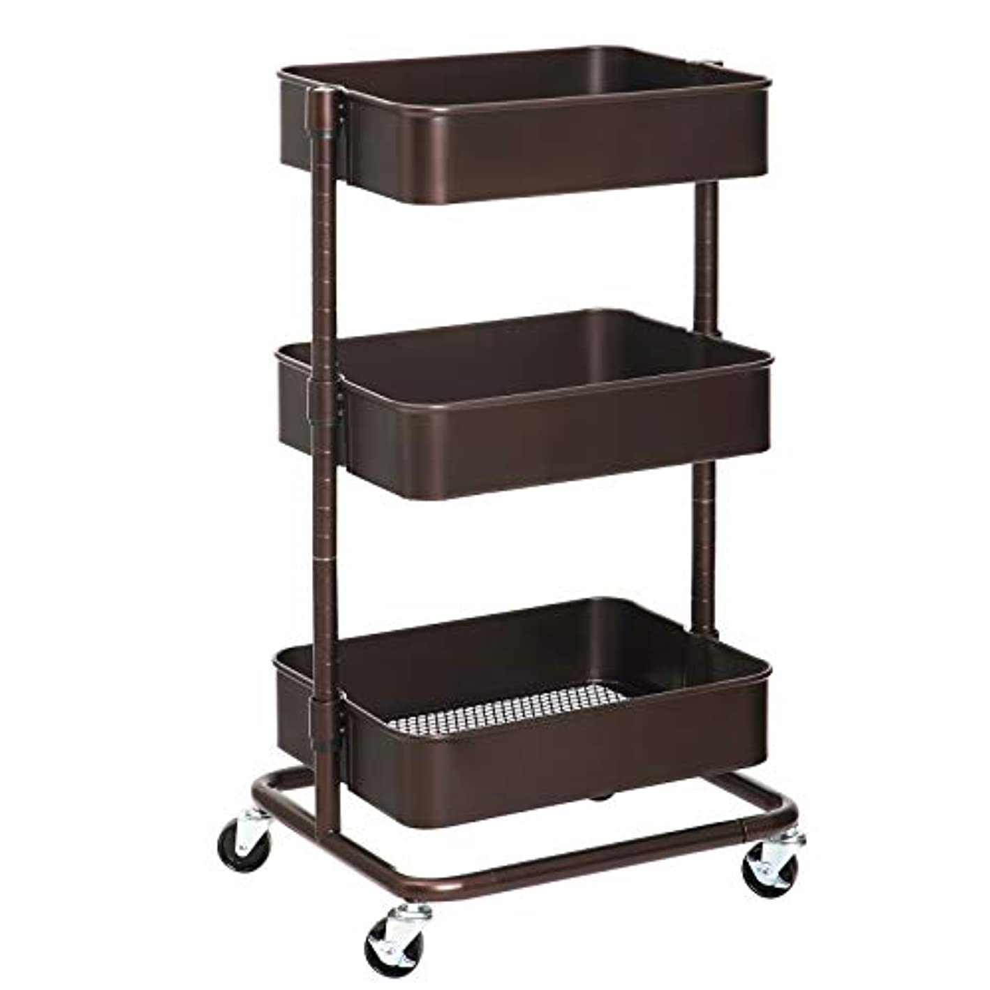 SONGMICS 3-Tier Metal Rolling Cart, Utility Cart, Kitchen Cart with Adjustable Shelves, Storage Trolley with 2 Brakes, Easy Assembly, for Kitchen, Office, Bathroom, Bronze UBSC60A