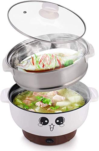 110 V,4 In 1 Multifunction Electric Skillet,Non-Stick Hot Pot,Stainless Steel Rice Cooker Noodle Cooker,Portable Frying Pan & Roaster,Mini Stockpot with lid.