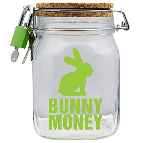 Hucha con diseño de conejo y mono, color verde