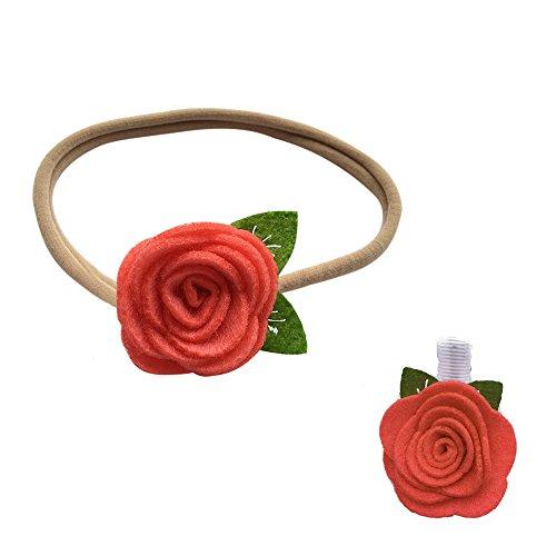 iKulilky - Pasador de pelo para mujer + cinta para el pelo con flores recién nacidas para bebé, adorno para novia, cinta para la cabeza, diadema para niña, joya para el pelo Rojo sandía tamaño único