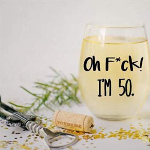 Oh F*ck I'm 50 Verre à vin sans pied en cristal gravé Verre à liqueur Parfait pour père, maman, garçon ou petite amie