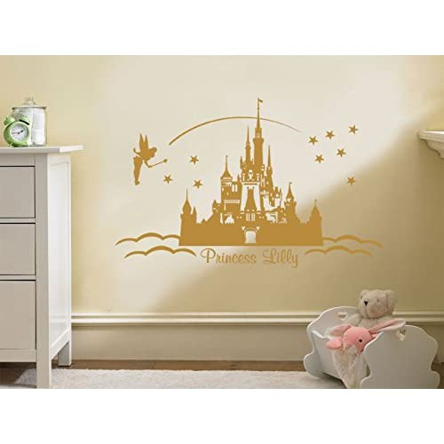 PERSONALISED Princess Castle Wall Art, Vinyl Sticker Wall Childs Nursery  Mural Decal Pink | Large