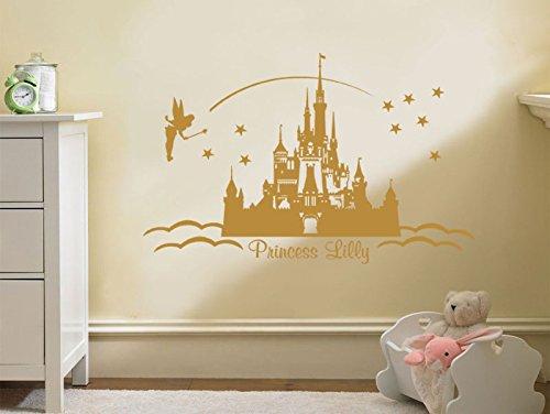 Autocollant mural personnalisé Château de princesse Décoration murale, Chambre d'enfant en vinyle, Vinyle, doré, X-Large 100cm (w) x 57cm (h)