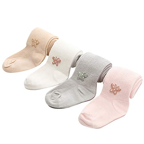 4 Paar Baby-Mädchen Leggings Strumpfhose Anti-Mücke dünne Hose Baumwolle Leggings Babystrumpfhose Strickstrumpfhose