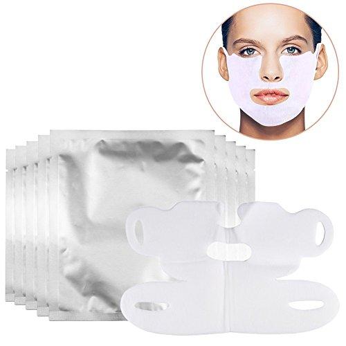 10 Stück V Gesichtsmaske, V Gesichtsmasken, Gesicht Abnehmen Maske V Maske Hydrotherapie Whitening ziehen Maske für Hals und Kinn heben Anti Aging reduzieren Falten dunkle Flecken und feine Linien