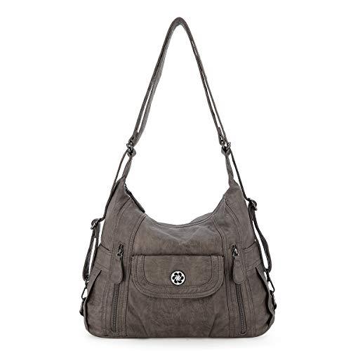 angel kiss Satchel Handbag for Women, Ultra Soft Washed Vegan Leather Crossbody Bag, Shoulder Bag, Tote Purse (0118#K022#16KHAKI2)
