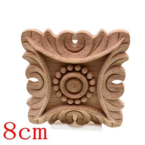 Flower Carving Natural Wood Appliques for Furniture Cabinet Unpainted Wooden Mouldings Decal Decorative Figurines 8cm2 1PCS