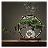 Plantas Artificiales 12 pulgadas Bonsai Artificial Bonsai Boicing Pine Tree, Simulation Potted Plant Creativity Bonsai, Pote de árbol falso Se utiliza para la decoración de la sala de estar (con cepil