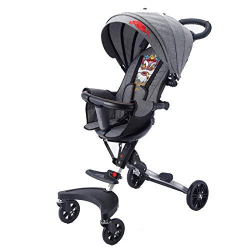 LWXXXA Cochecito Ligero, Cochecitos de bebé Cochecito Compacto Plegable para Viajes, Asiento reclinable Giratorio Ajustable, Diseño de múltiples Pedales