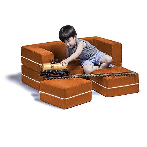 Jaxx Zipline Kids Modular Sofa & Ottomans/Fold Out Lounger, Mandarin
