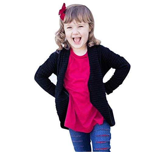 Kids Girls Autumn Long Sleeve Open Front Sweater Knit Twist Cardigan Warm Cover Coat 1-5 Years