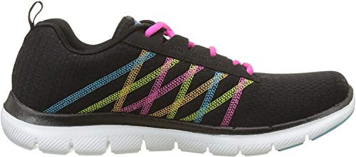 Skechers Flex Appeal 2.0, Damen Low-top, Schwarz (Black/multi), 40 EU (7 UK)