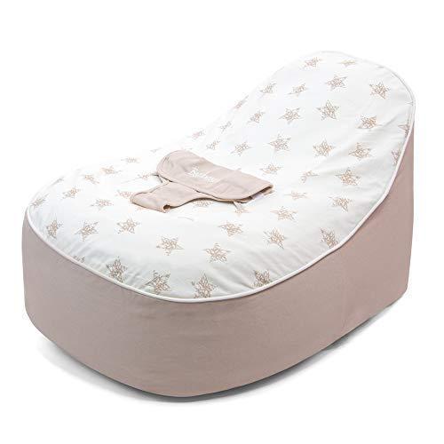 bambeano Sitzsack mit Stütze für Babys, Kuschelliege - Crème, 0-6 Monate, Reine Baumwolle, Waschmaschinenfest, Sitzsäcke für Babys