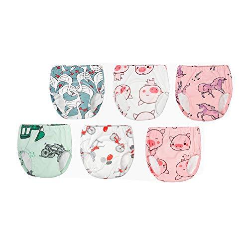 Morbuy 3/4/6er Pack Baby Lernwindel Trainerhosen Unterwäsche Windeln Windelhose zum Toilettentraining Töpfchentraining Kleinkind Töpfchen Klingelhose Waschbare Lernwinde (90,6pcs Mehrfarbig)