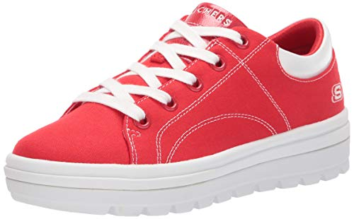 Skechers Street Cleat-bring It Back Sneaker Damen, Rot (Red Canvas/White Duraleather Trim Red), 37 EU
