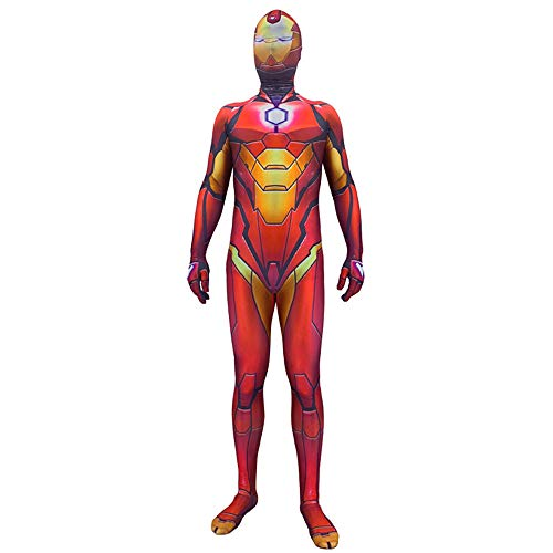 Hope Avengers 4: Iron Man Costume, Halloween per Bambini Halloween Cosplay Tutina Dress Up Zentai Movie Party Tuta Collant Siamese,Red-110~120 cm
