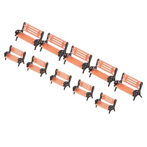 ULTNICE 10 Stück Miniatur Park Bänke Modellbahn Bank Stuhl Sofa für Modellbahn Landschaft Eisenbahn Layout