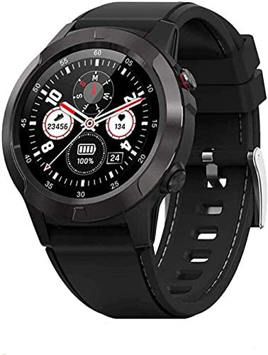 Reloj inteligente hombres/con monitor de sueño podómetro/notificación brújula barómetro altitud cuero y correa de goma