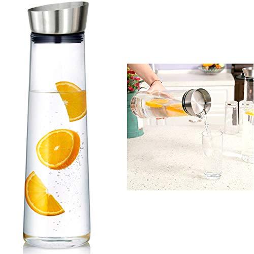SCHOBERG Wasserkaraffe 1 Liter Karaffe Saftkrug Krug aus Glas mit Ausgiesser Sieb Küche
