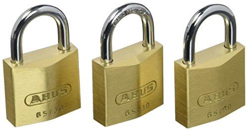 ABUS Vorhängeschloss Messing 65/30 - 3er Set, gleichschließend - Schlosskörper aus massivem Messing - gehärteter Stahlbügel - ABUS-Sicherheitslevel 4