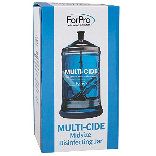 """ForPro Professional Collection Multi-Cide Midsize Disinfecting Jar - Disinfectant Glass Jar for Manicure & Spa Implements - 21 Ounces, 8"""" H x 4.25"""" W, Blue"""