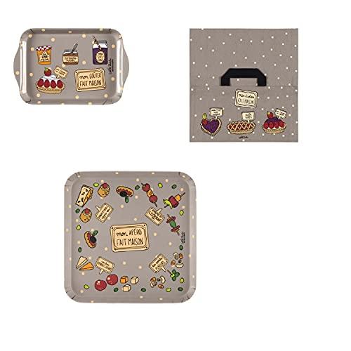 DLP - Borsa per torta 'Faiho' + mini vassoio (19 x 14 cm) + vassoio aperto (28,5 x 28,5 cm)