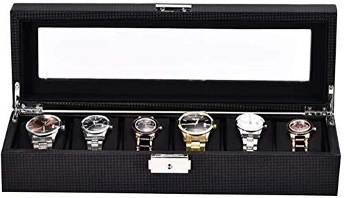 Caja de almacenamiento de joyería con 6 ranuras de reloj, vitrina de fibra de carbono, con hebilla de metal con cerradura superior de vidrio, regalos para hombres y mujeres