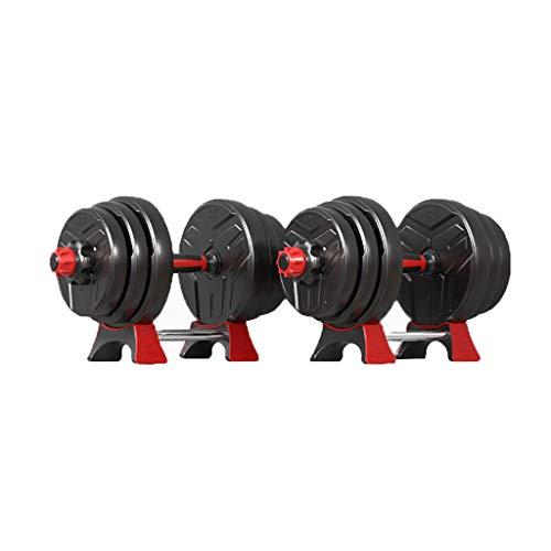 WFS Pesas Gimnasio Pesas Ajustables Conjunto Fitness Pesas Pesas Pesas Conjunto Libre con La Biela Y Soporte Musculación (Color : Black, tamaño : 15Kg(7.5Kg*2))