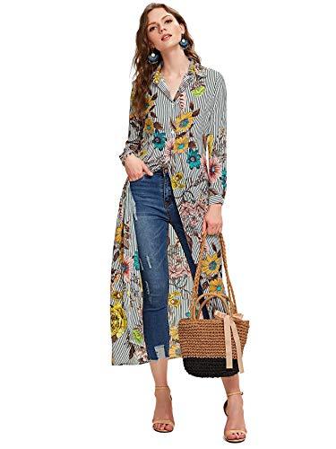 SheIn Women's Long Sleeve Button Up Stripe Floral Longline Blouse Shirt Cardigan Multicoloured XX-Large