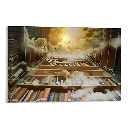 ZHUTOU Library Bookshelf Cloud Canvas Art Poster and Wall Art Picture Print Modern Family bedroom Decor Posters 24x36inch(60x90cm)