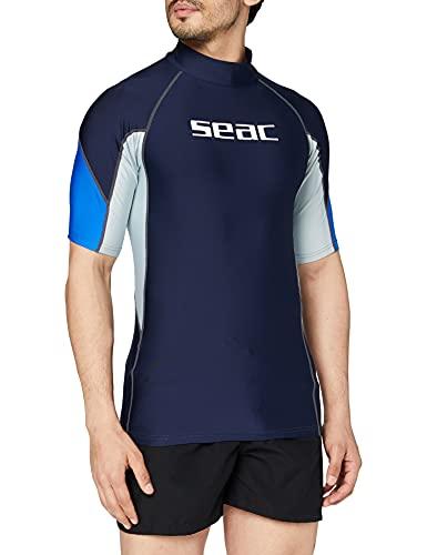 SEAC RAA Short EVO Camiseta para Snorkeling y Natación con Protección UV, Hombre, Azul Claro, XL