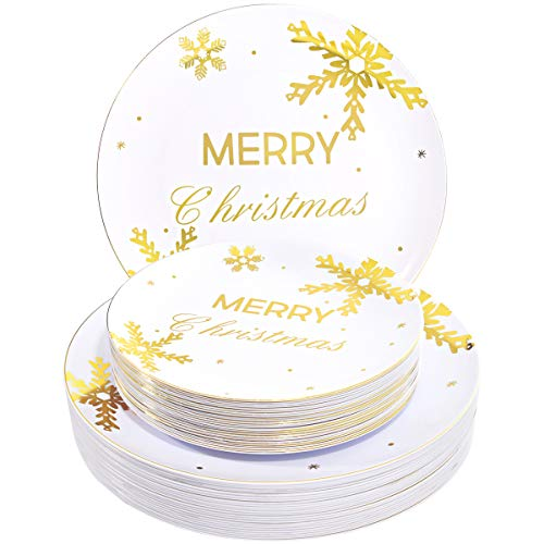 WDF 50Pieces Gold Plastic Plates- Snowflake Plastic Plates-Heavyweight White and Gold Disposable Plates for Christmas