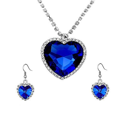 YELLOW CHIMES Valentine Special Mesmerizing Titanic Blue Ocean Heart Austrian Crystal Silver...