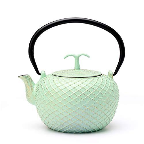 Tea Kettle, Toptier Japanese Tetsubin Cast Iron Teapot with Infuser for Loose Tea, Tea Kettle Stovetop Safe, 29 Ounce (850 ml), Green Net