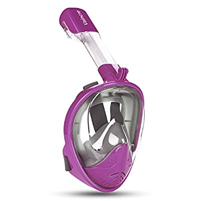 Vaincre 180° Full Face Snorkel Mask Panoramic View Anti-Fog,Anti-Leak Snorkeling Design with Adjustable Head Straps-See Larger Viewing Area Than Traditional Masks for Adults Youth(Purple, S/M)