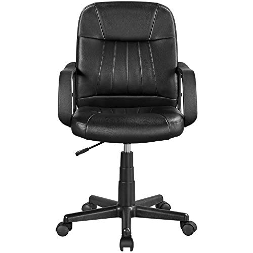 Yaheetech Office Chair PU Leather Adjustable Swivel Desk Chair Excutive Chair Gas Lift Armchair on Wheels Black