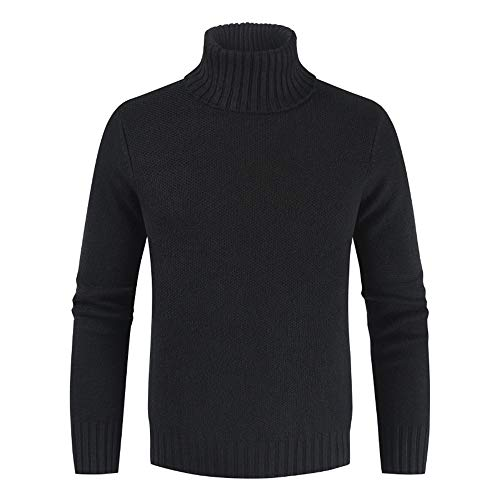 ZHUQI Men Sweater Men Jumpers Comfortable Casual High Collar Men Tops Autumn and Winter Warm Knitted Men Pullover All-Match Fashion Simplicity Men Tops Men Jumper D-Black 3XL