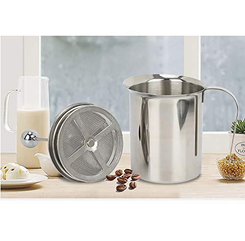 PGODYQ Espumador de leche, espumador de leche de mano de acero inoxidable, jarra de espuma de leche manual, fabricante de burbujas de leche manual para capuchinos y café latte de 400 ml