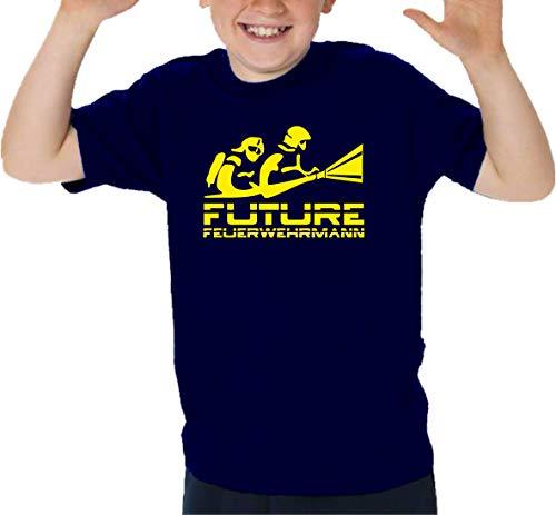 Feuer1 T-shirt pour enfant Navy Future FeurerwehRMANN Jaune fluo 8-9 ans bleu marine