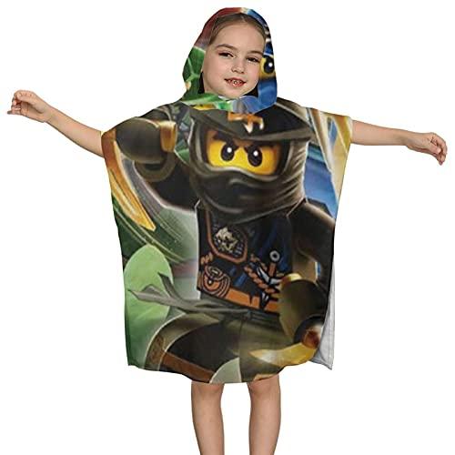 Lego Ninjago Quadrant Warriors Asciugamano con cappuccio per bambini, asciugamano assorbente, telo mare da nuoto, con cappuccio per ragazzi e ragazze
