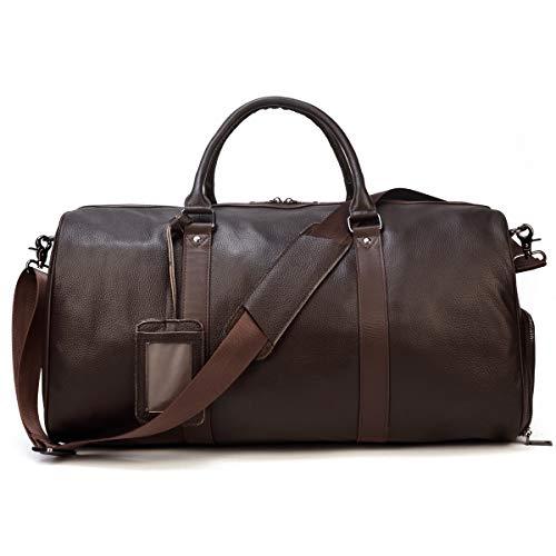 LUUFAN Unisex Leather Travel Duffel Bag Vintage Weekend Bag (Brown-55cm)