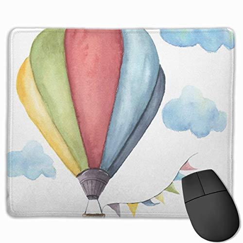 Muismat, bureau muismat, muismat blauw aquarel heteluchtballon vintage vlaggen slingers wolken polka dot en retro