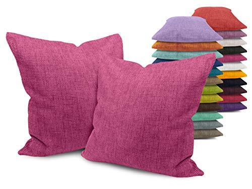npluseins Kissenhülle mit Struktur-Muster - Polsteroptik 617.767, 1 Pack (2 Stück) - Kissenhüllen 40 x 40 cm, pink meliert