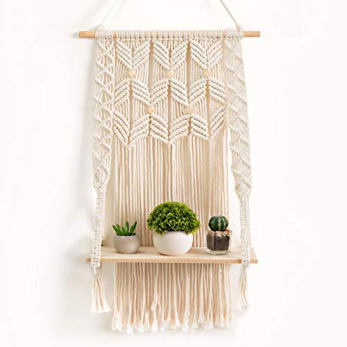 OMOMIO Macrame Wall Hanging Shelf - Indoor Boho Wall Decor for Bedroom - Woven Rope Bohemian Shelves...